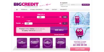 Darmowa pożyczka Big Credit