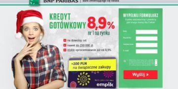 Kredyt gotówkowy w BNP Paribas z kartą podarunkową